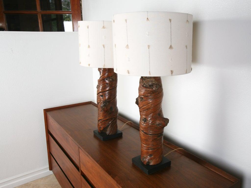 Pair Vintage Windswept Burl Wood Lamps At 1stdibs