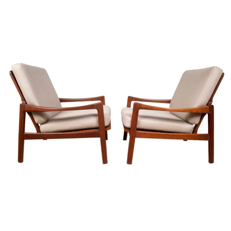 Pair of danish modern teak lounge chairs at 1stdibs Danish modern furniture