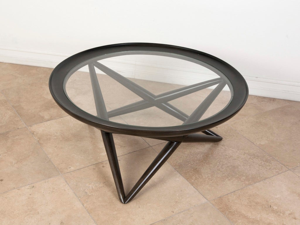 X Base Ebony Stained Round Glass Coffee Table At 1stdibs