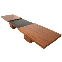 Expanding walnut coffee table by John Keal for Brown Saltman