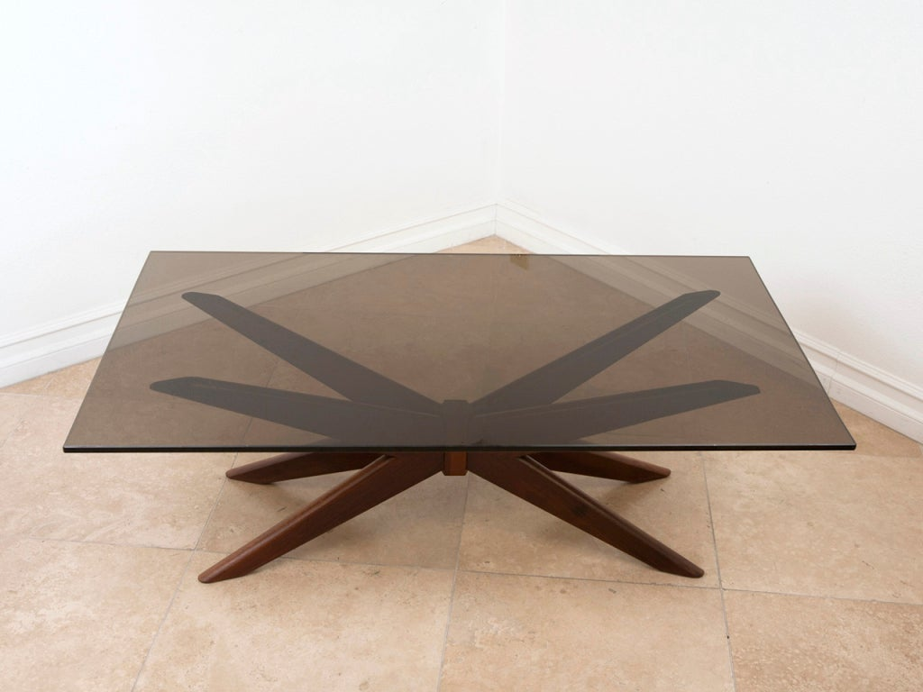 Sculptural Walnut And Glass Coffee Table After Vladimir Kagan At 1stdibs