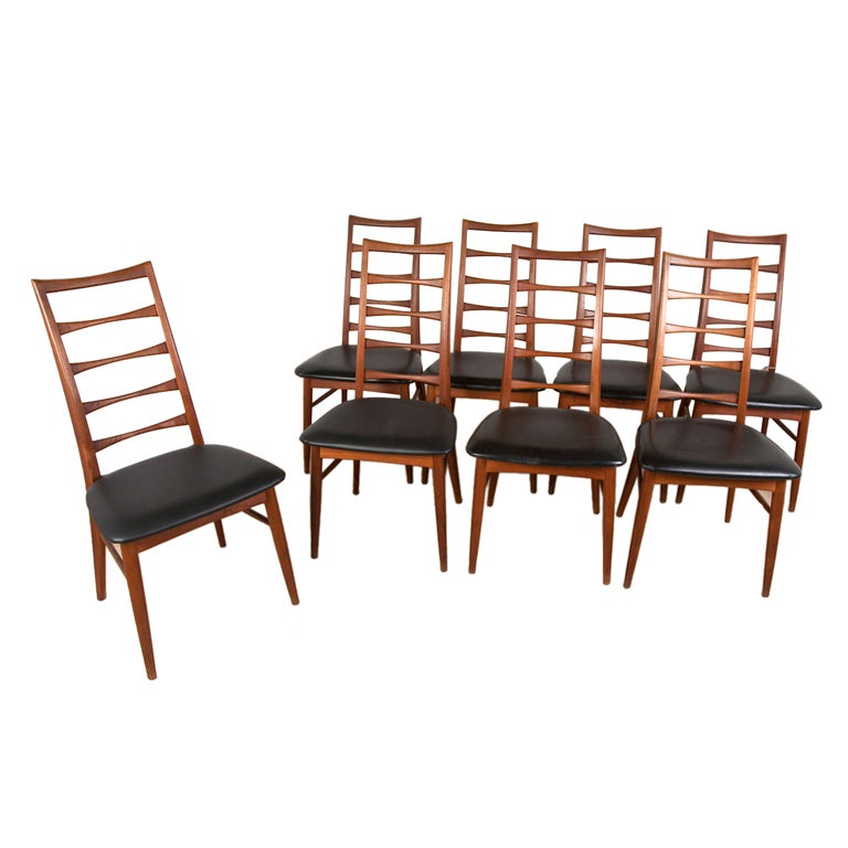 Eight danish ladder back teak dining chairs by koefoeds hornslet at 1stdibs - Ladder back dining room chairs ...