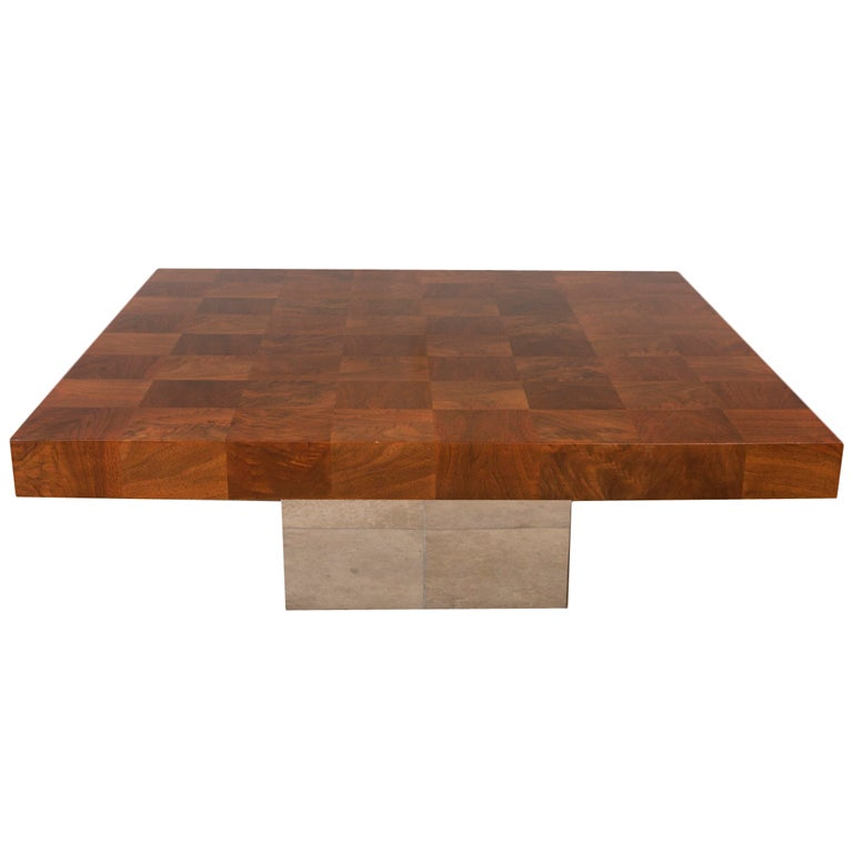 Chrome And Walnut Parquet Coffee Table By Milo Baughman At 1stdibs