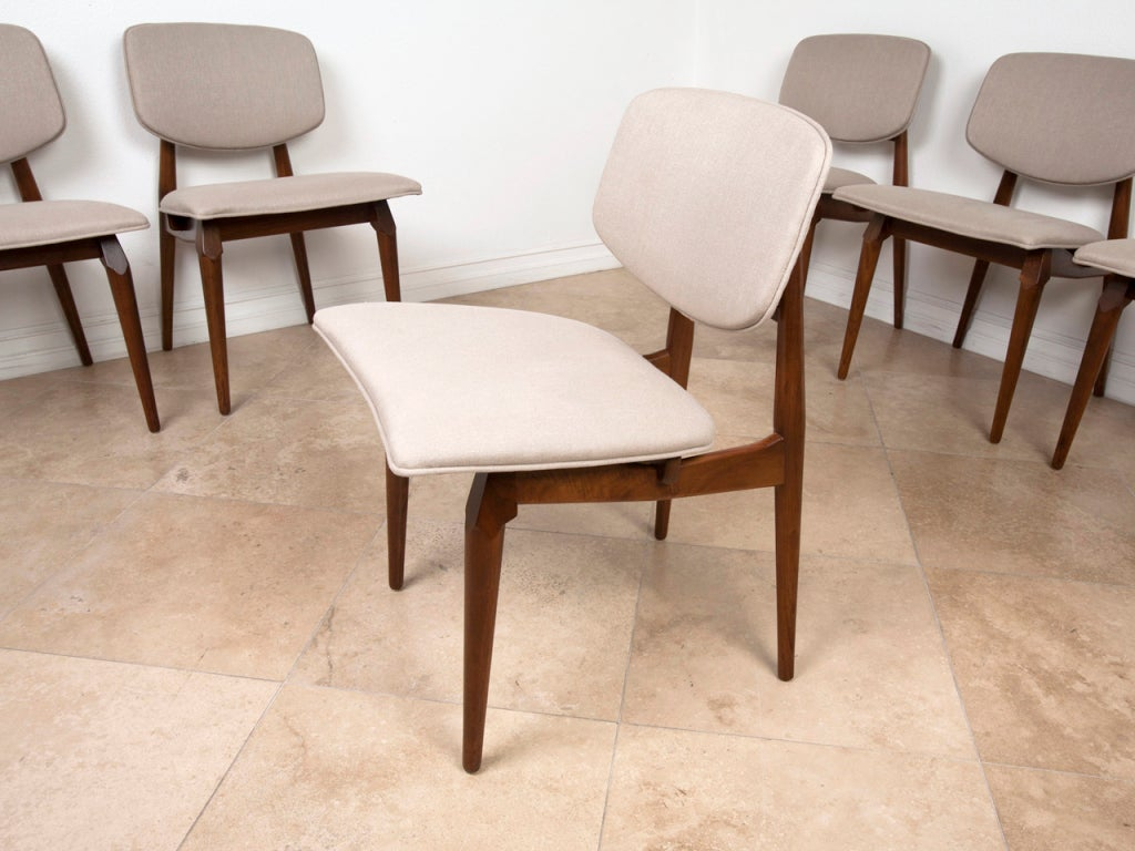 Set Of Six California Modern Walnut Dining Chairs At 1stdibs