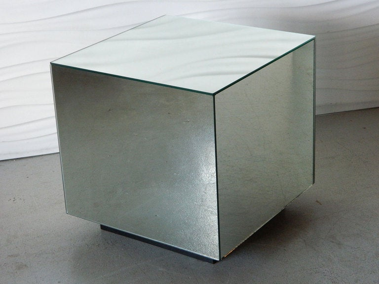 Glass Mirrored Cube Side Table 3