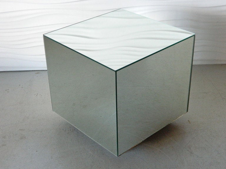 Glass Mirrored Cube Side Table 2