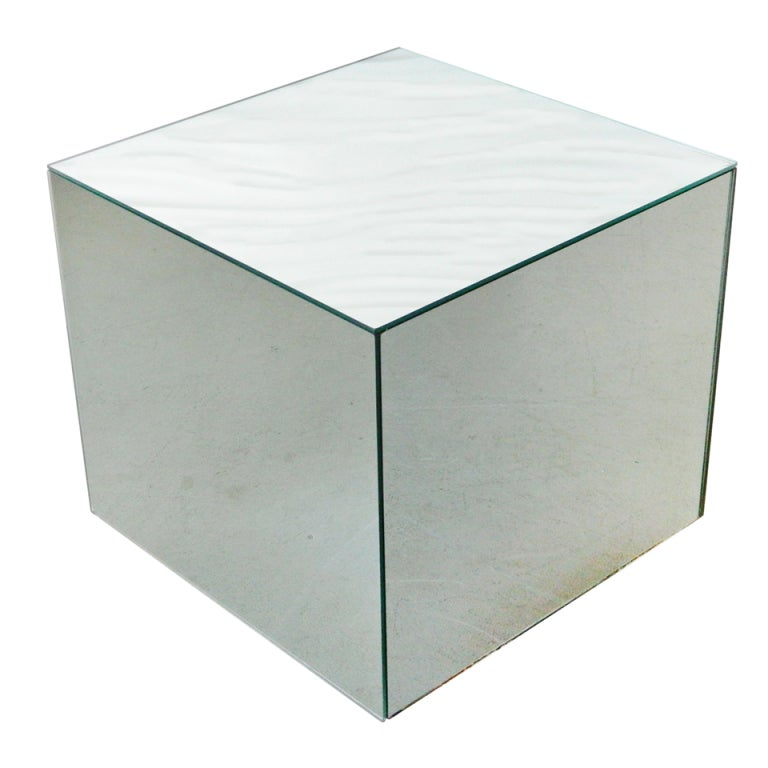 glass mirrored cube side table at 1stdibs
