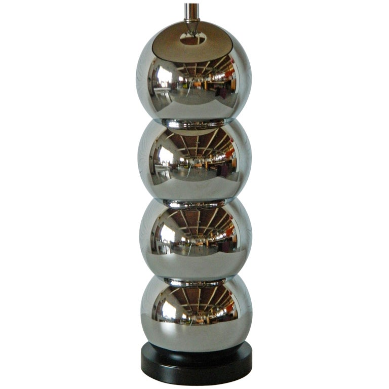 Stacked Chrome Ball Lamp At 1stdibs
