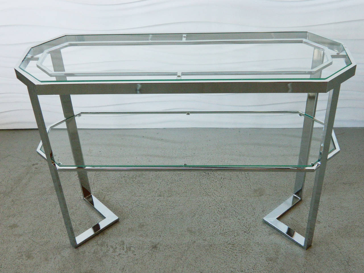 chrome and glass console table at stdibs - chrome and glass console table
