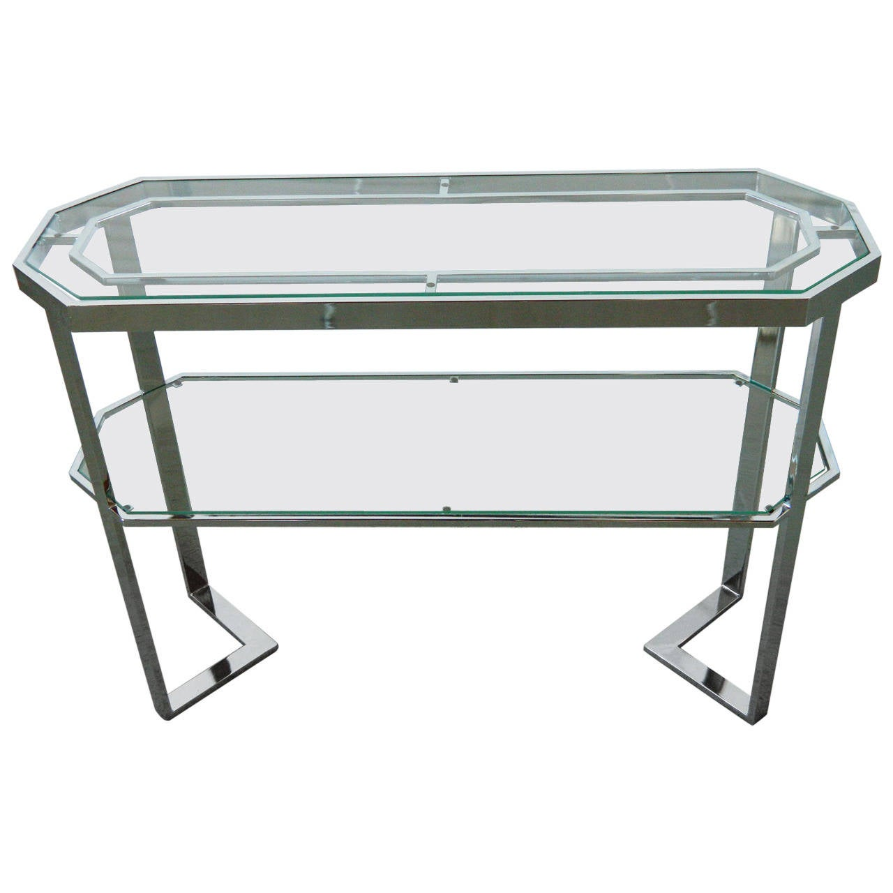 Chrome And Glass Console Table At 1stdibs