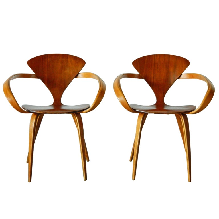 Norman Cherner Molded Plywood and Bentwood Chairs for Plycraft at