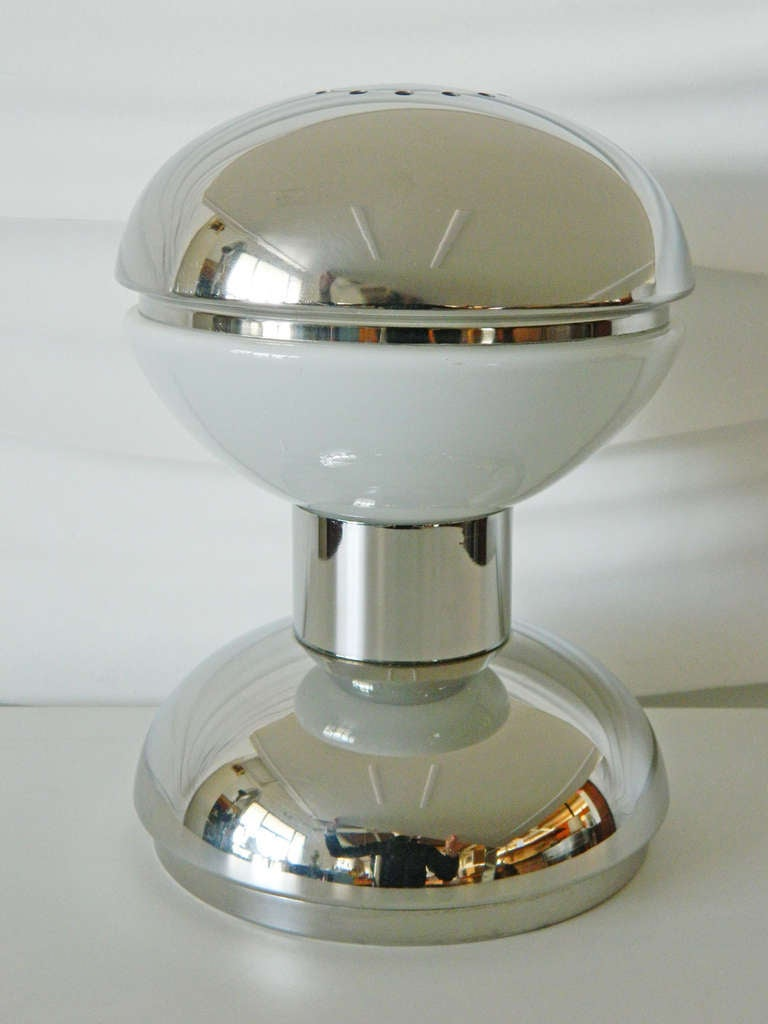 Reggiani Italian Chrome And Glass Table Lamp For Sale At