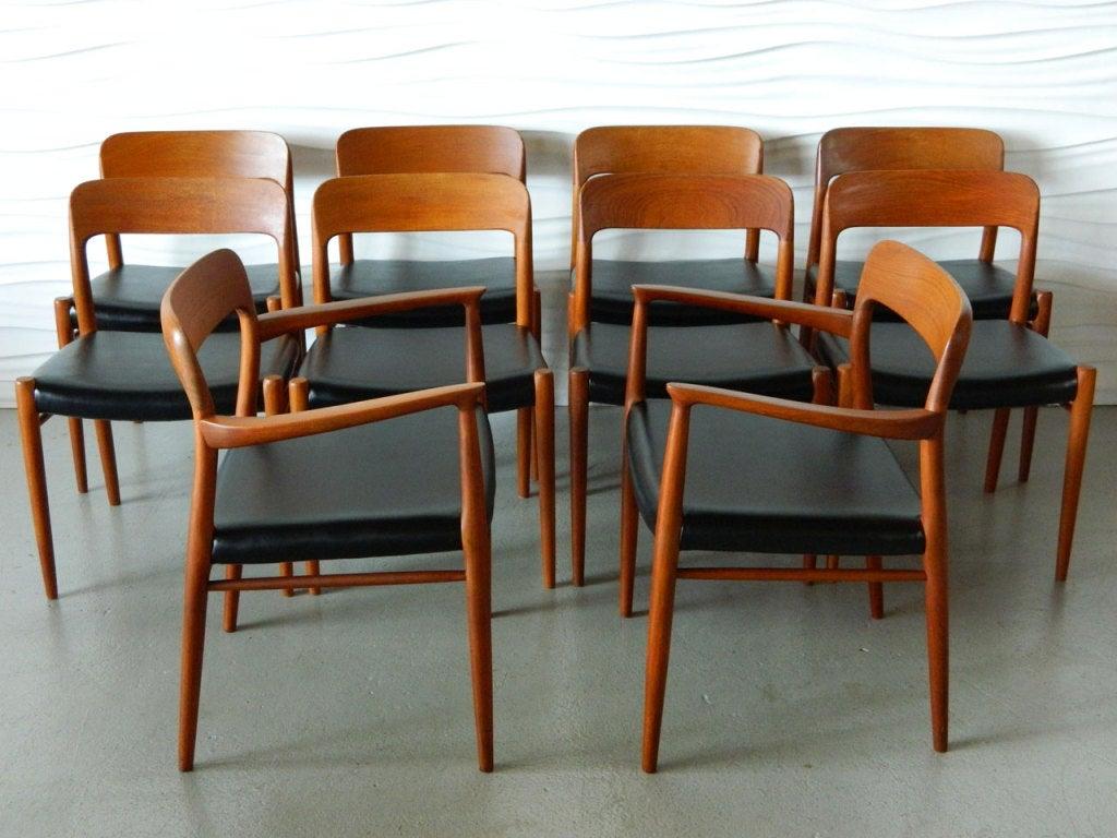 Set of 10 niels moller danish solid teak dining chairs at 1stdibs - Scandinavian teak dining room furniture ...