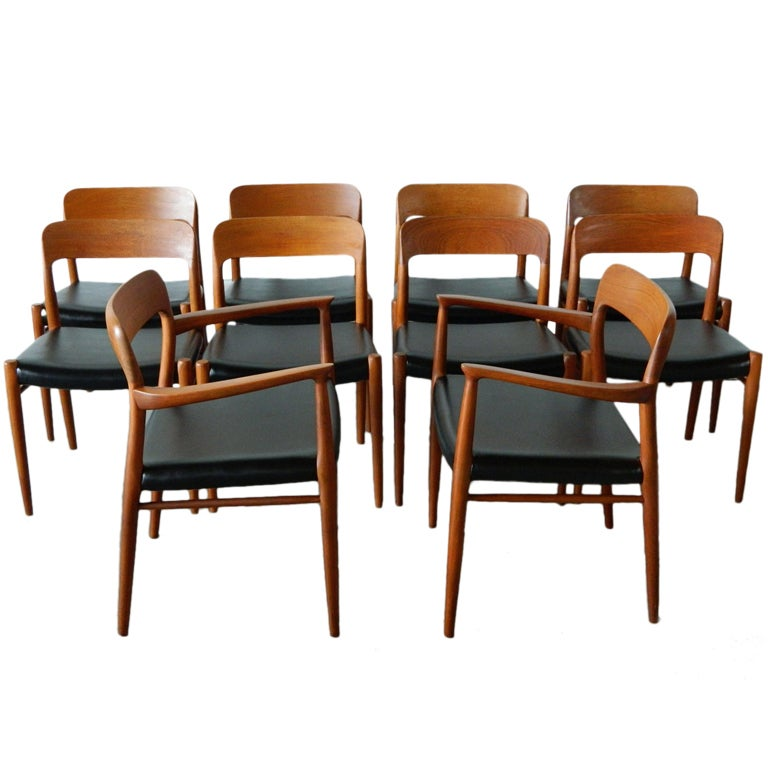 Set Of 10 Niels Moller Danish Solid Teak Dining Chairs At 1stdibs