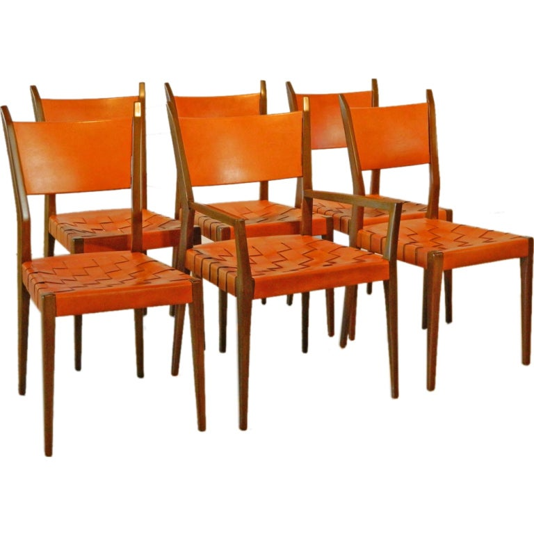 Six Paul McCobb Woven Leather Chairs for Directional at
