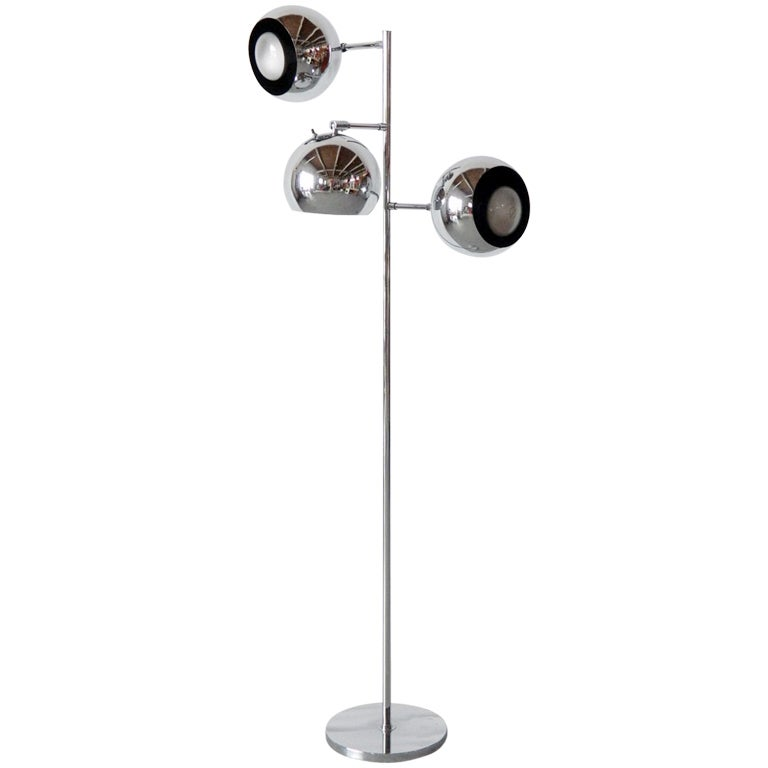 Chrome Globe Floor Lamp at 1stdibs