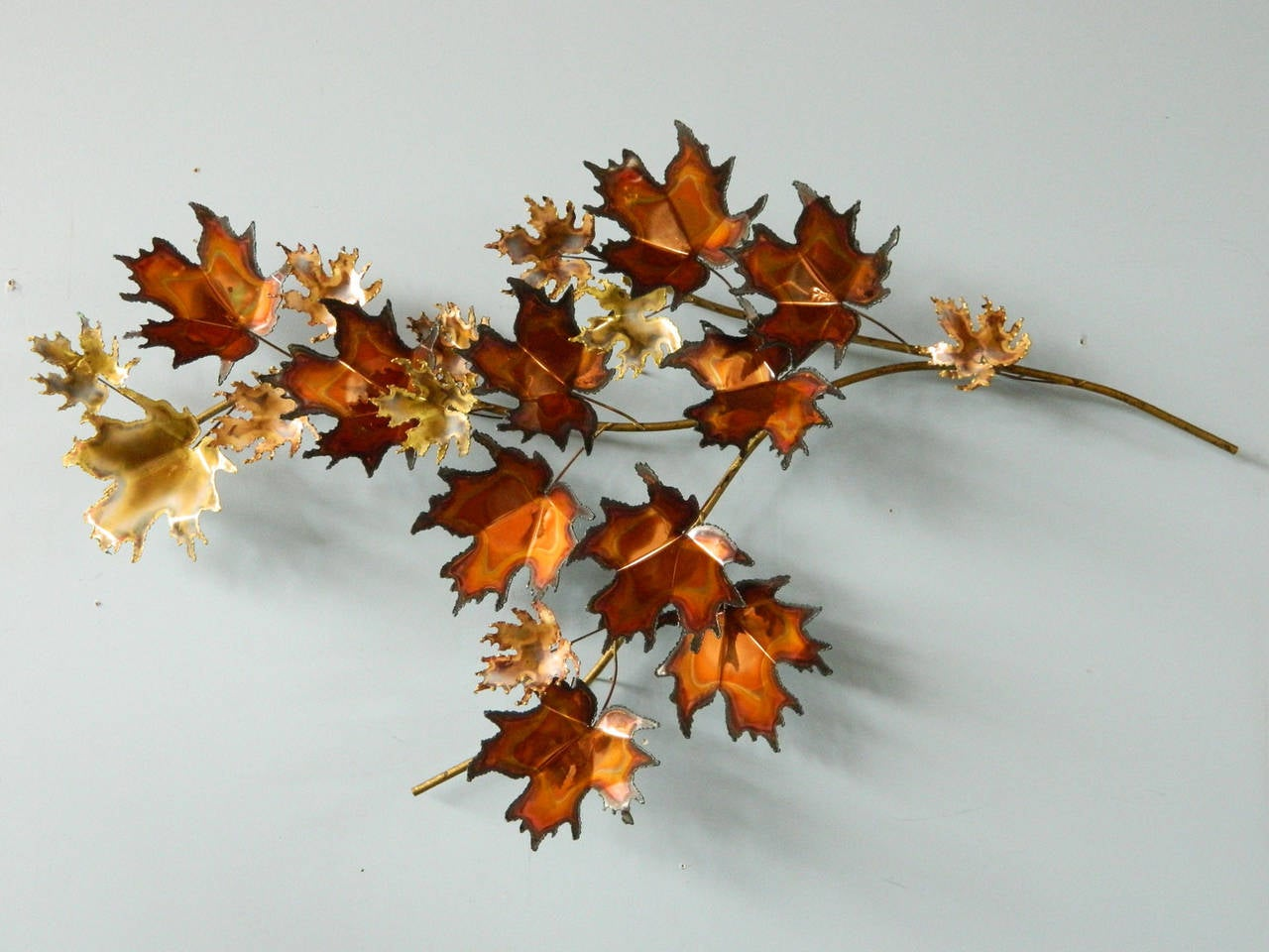 Metal Maple Tree Branch Wall Sculpture By Curtis Jere At