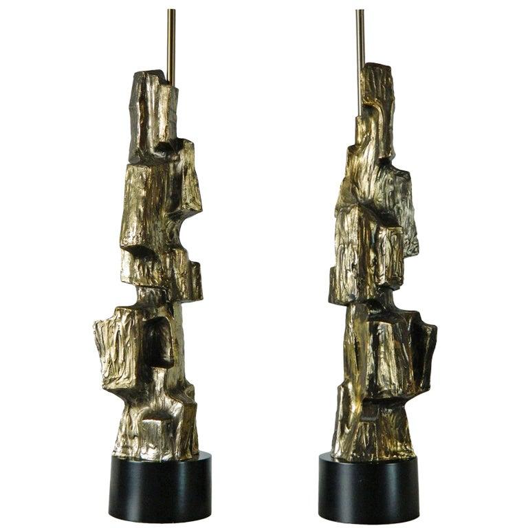 Pair of Maurizio Tempestini Brutalist Rock Lamps