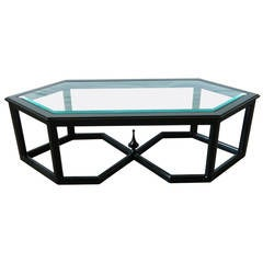 Hollywood Regency Hexagonal Bevelled Glass Coffee Table