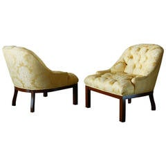 American Modern Tufted Slipper Chairs in the Style of Edward Wormley