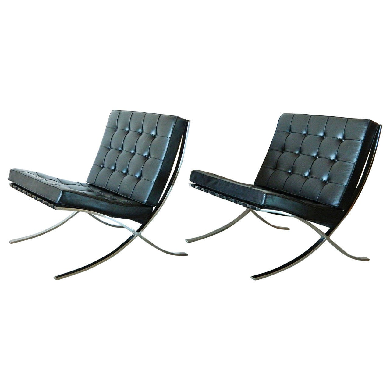 Pair Of Vintage Mies Van Der Rohe Barcelona Chairs For Knoll 1