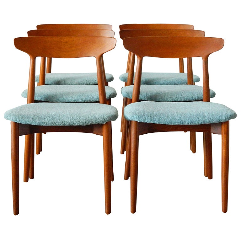 Six Harry Ostergaard Danish Teak Dining Chairs For Randers