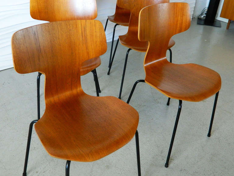 Arne Jacobsen Model 3103 Teak Bent Wood Chairs At 1stdibs
