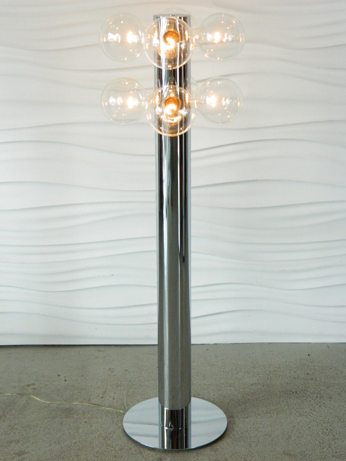Tsao designs multi globe chrome floor lamp at 1stdibs for Multi spotlight floor lamp