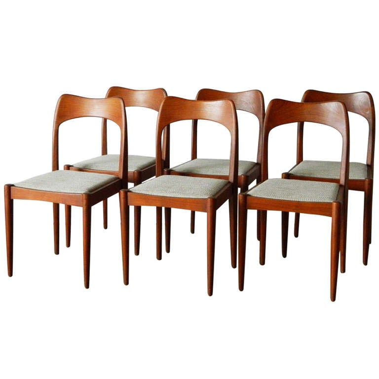 six mid century modern indian teak dining chairs at 1stdibs