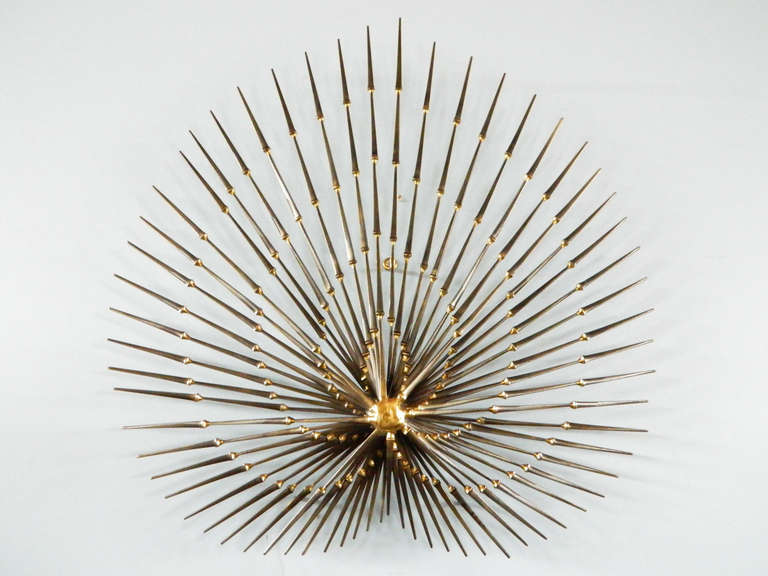 A Por Art Form In The 1970s This Is Beautiful Interpretation Of Palm Leaf American Vintage Nail Wall Sculpture