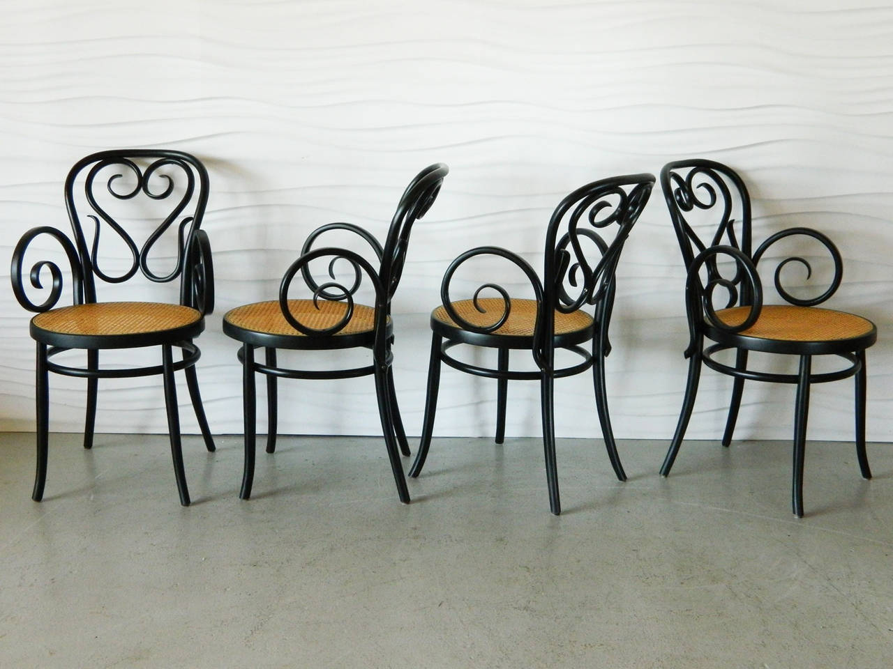Set Of Four Italian Bentwood And Cane Cafe Chairs 2