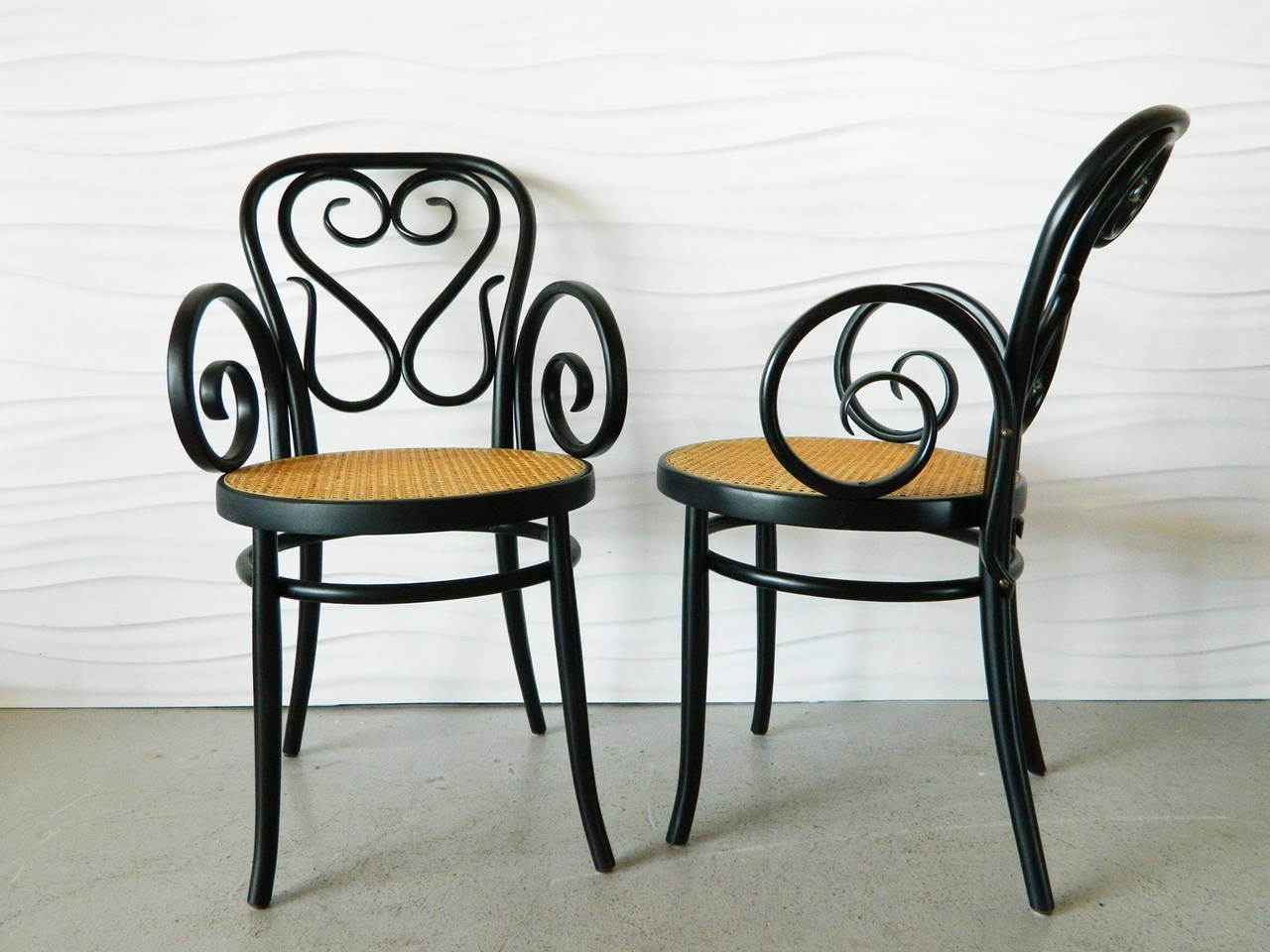 Set of four italian bentwood and cane cafe chairs for sale at 1stdibs - Cane bistro chairs ...