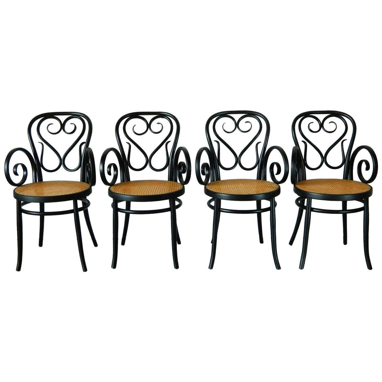Set Of Four Italian Bentwood And Cane Cafe Chairs For Sale
