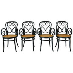 Set of Four Italian Bentwood and Cane Cafe Chairs