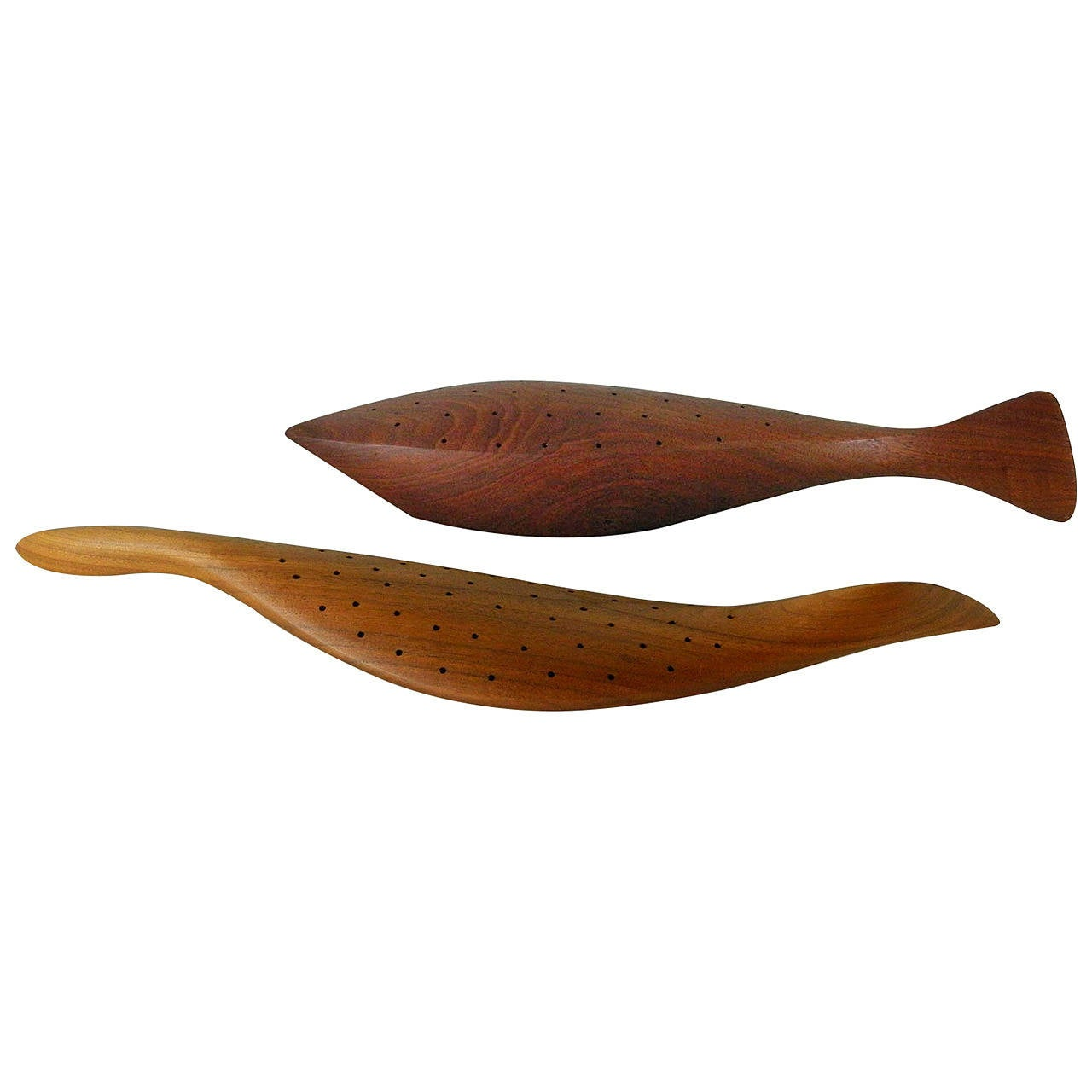 Emil milan carved wooden fish and bird canape holders at for Canape holders