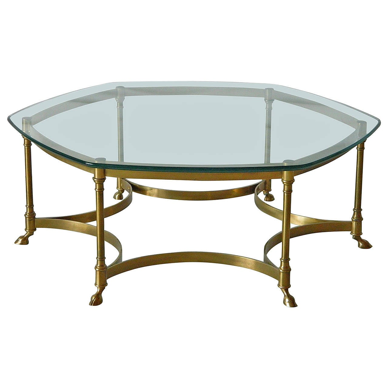 Hollywood Regency Hexagonal Brass Coffee Table In The