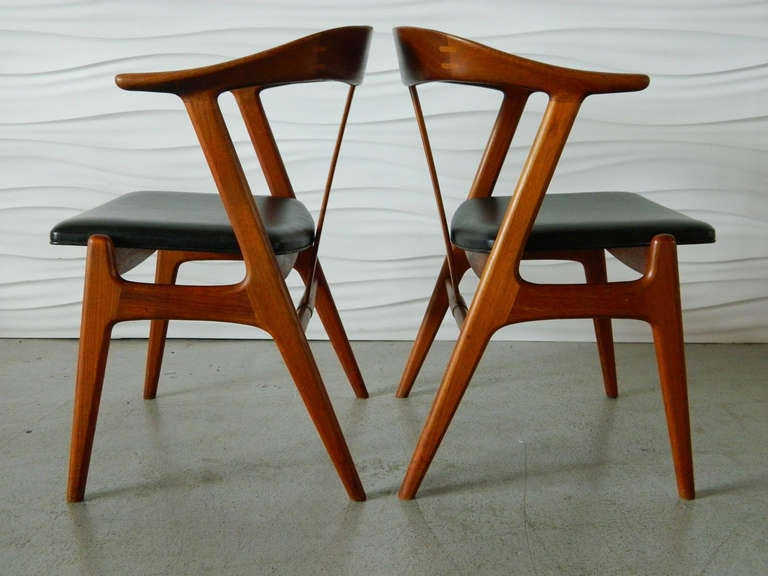 pair of torbjorn afdal for bruksbo teak chairs at 1stdibs