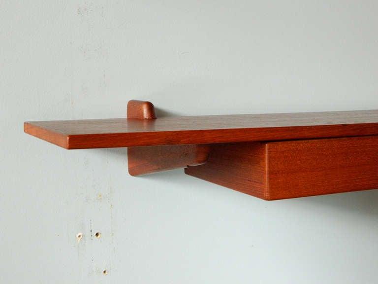 20th Century Vintage Teak Mirror and Floating Shelf Attributed to Aksel Kjersgaard For Sale