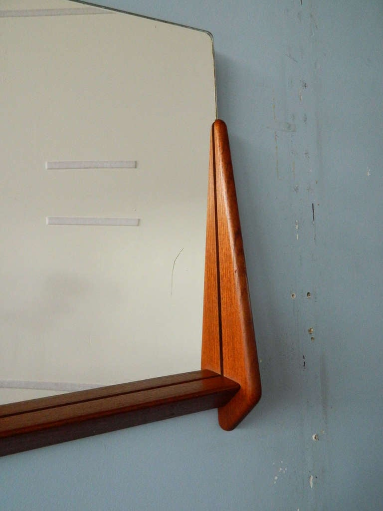 Vintage Teak Mirror and Floating Shelf Attributed to Aksel Kjersgaard In Good Condition For Sale In Baltimore, MD