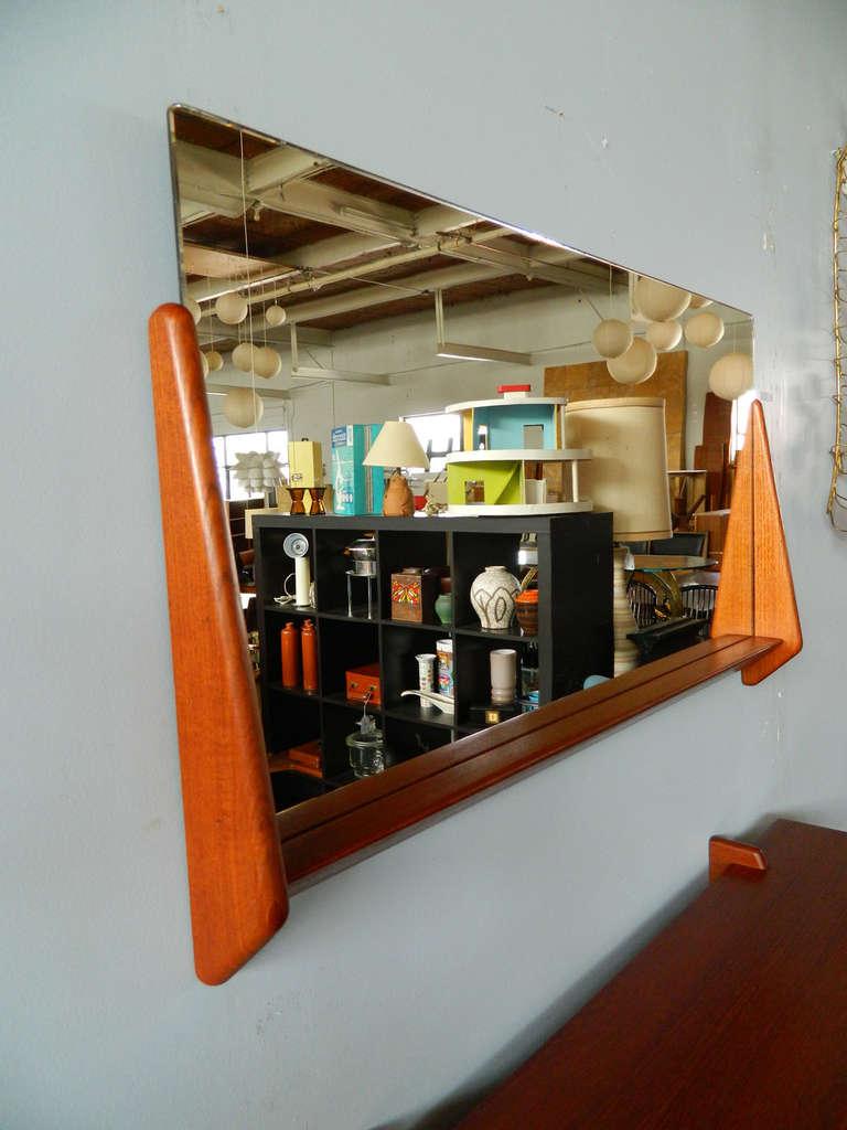 Danish Vintage Teak Mirror and Floating Shelf Attributed to Aksel Kjersgaard For Sale