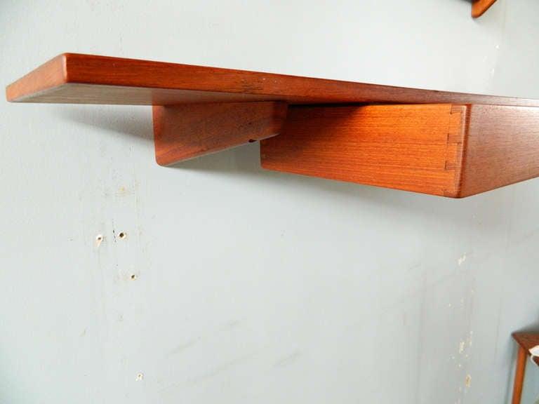 Vintage Teak Mirror and Floating Shelf Attributed to Aksel Kjersgaard For Sale 2