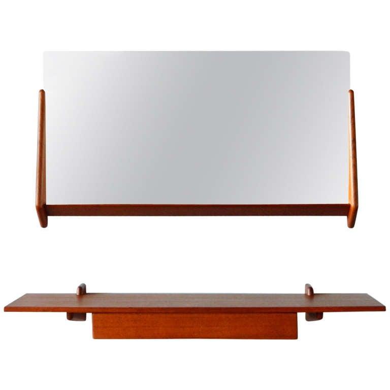 Vintage Teak Mirror and Floating Shelf Attributed to Aksel Kjersgaard For Sale