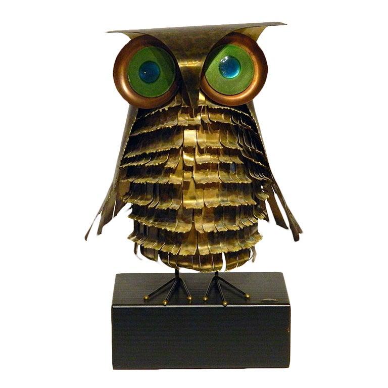 Curtis Jere Metal Owl Sculpture