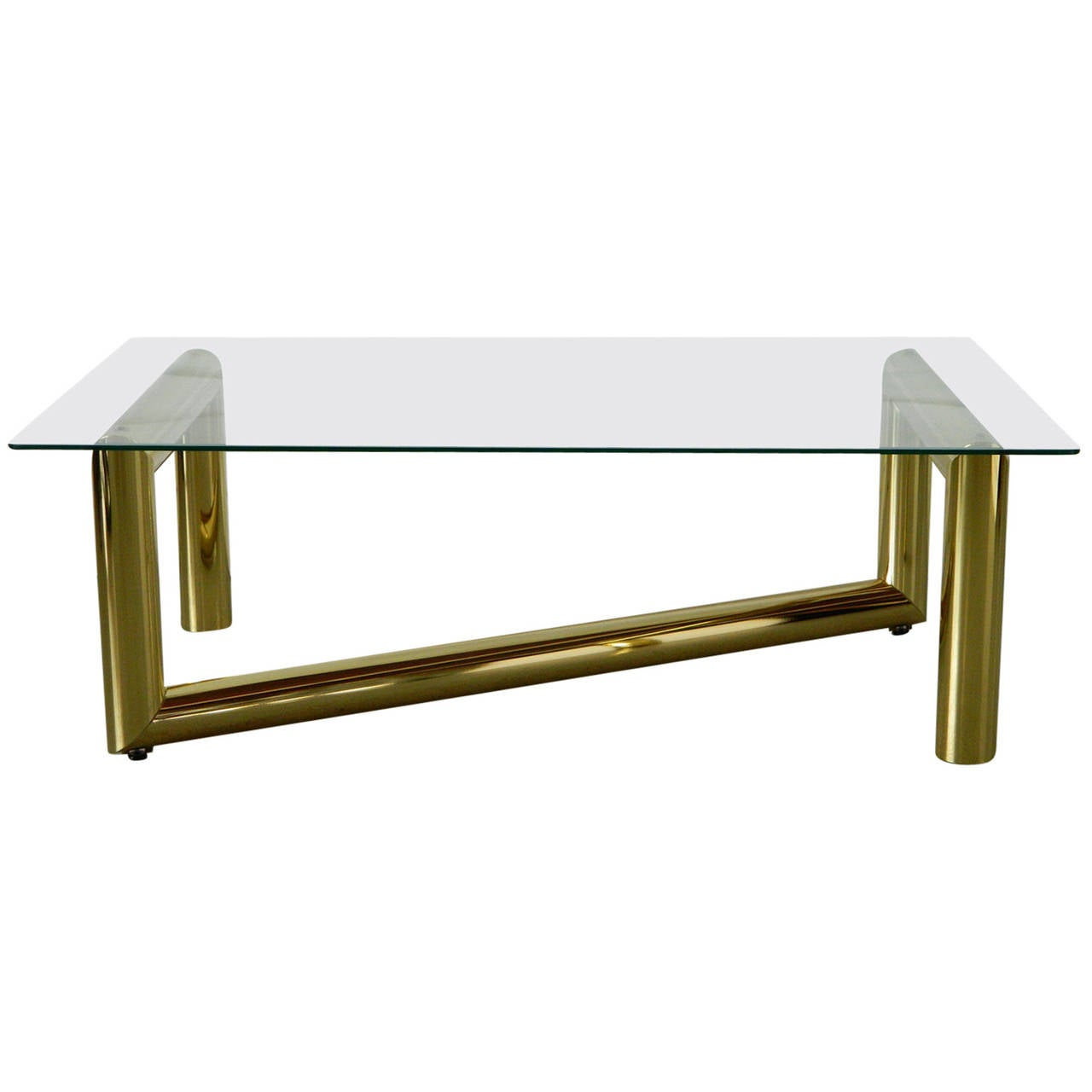tubular brass and glass coffee table attributed to karl springer