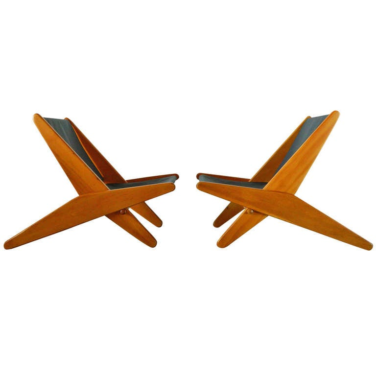 Pair of MId Century Canvas Folding Chairs at 1stdibs