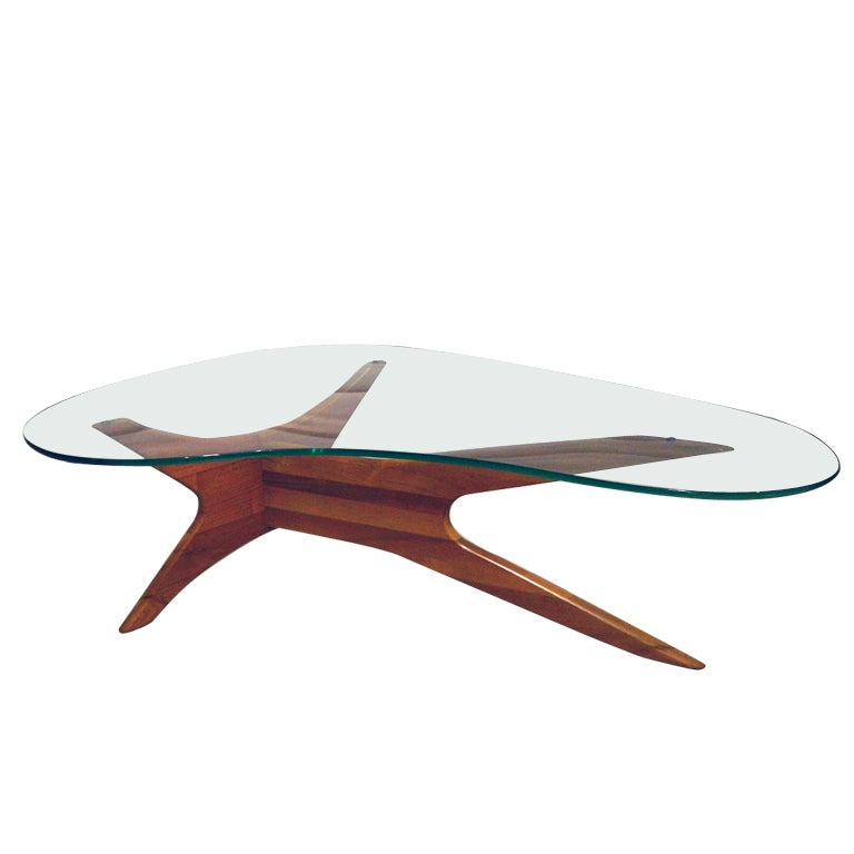 Adrian Pearsall Biomorphic Walnut Coffee Table at 1stdibs