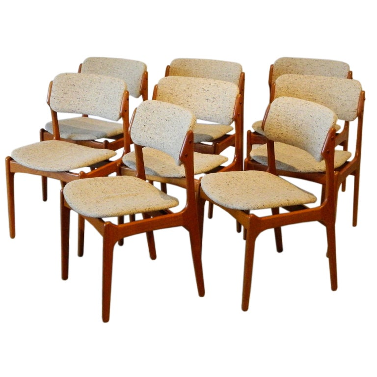 Set of eight erik buck teak danish dining chairs at 1stdibs for 8 dining room chairs