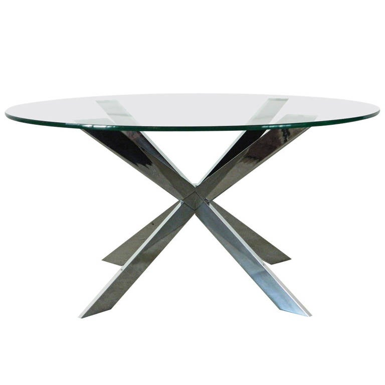 Collection Glass And Chrome X Base Coffee Table For Sale At 1stdibs