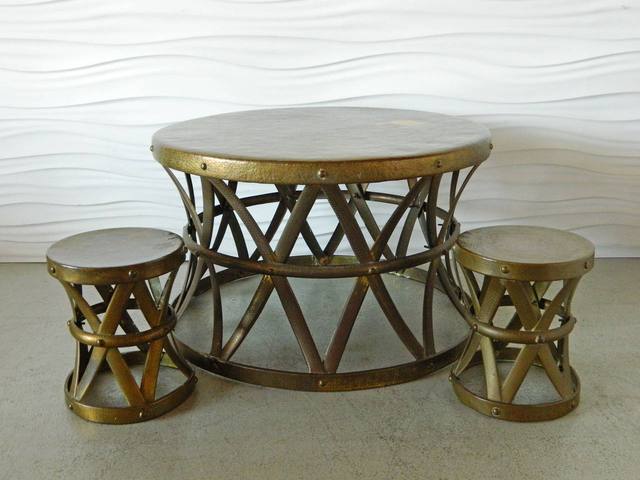 Pair Of Vintage Hammered Brass X Drum Stools For Sale At