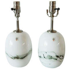 Pair of Michael Bang Glass Lamps for Holmegaard